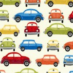 Auto - Small-Scale Retro Cars on Cream- LTD. YARDAGE AVAILABLE