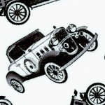Tossed Vintage Cars in Black and White