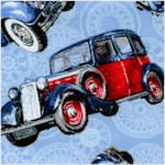 Classic Cars - Tossed Vintage Cars on Blue