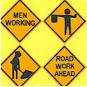 Construction Signs on Yellow - LTD. YARDAGE AVAILABLE (.42 YARD) MUST BE PURCHASED IN FULL