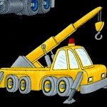 Busy Builders - Construction Trucks on Black by Cheri Strole