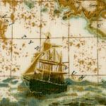 Explorer - Gilded Vintage Look Illustrated Map Collage