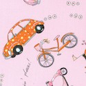 Monica - Retro VW Bugs, Bicycles and Scooters on Pink