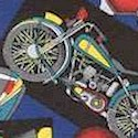Cool Riders - Tossed Motorcycle Snapshots on Blue - SALE! MINIMUM PURCHASE 1 YARD