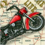 American Dream - Motorcycles on Highway Map