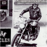 Vintage Motorcycle Advertising Collage in Black and White