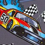 Tossed Racecars and Nascar Flags on Grey - SALE! (1 YARD MINIMUM PURCHASE)