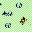 Let's Race - Tossed Racing Flags and Symbols on Green Check- SALE! (MINIMUM PURCHASE 1 YARD)