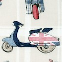 The British are Coming! Scooters on Beige Plaid