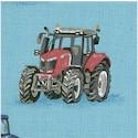 Farm - Tossed Farm Tractors on Blue