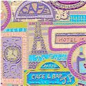 European Avenue - Gilded Cafe and Hotel Collage #2 - SALE! (MINIMUM PURCHASE 1 YARD)