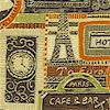 European Avenue - Gilded Cafe and Hotel Collage - SALE! (1 YARD MINIMUM PURCHASE)