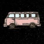 Vintage Scrapbook - Retro VW Vans on Black
