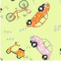 Retro Tossed VW Bugs, Bicycles and Vespas on Green