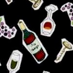 Contemporary Wine Corkscrews and Grapes on Black- SALE! MINIMUM PURCHASE 1 YARD - LTD. YARDAGE AVAIL