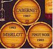 Vineyard Collection Wine Bottles, Glasses, Corkscrews and Casks on Black by Dan Morris