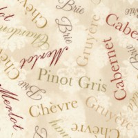 It's Wine O'Clock - Varietal Wine and Cheese Names on Beige