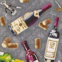 Market Medley  Tossed Wine Bottles, Corks and Corkscrews on Gray