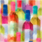 Sip and Snip - Packed Watercolor Wine Bottles by Connie Haley (Digital) - 43 Inches wide