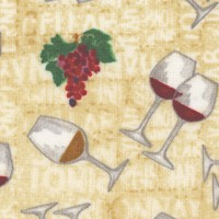 From the Vine - Tossed Wine Glasses and Grapes on Beige - LTD. YARDAGE AVAILABLE