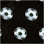 Score! Tossed Soccer Balls on Black - LTD. YARDAGE AVAILABLE