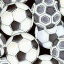 Pretty Sporty - Tossed Soccer Balls on Black by Dan Morris