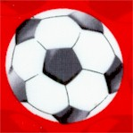 All Stars - Soccer Balls on Red by Maria Kalinowski