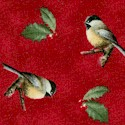 Winter Birds - Chickadees on Burgundy by Hautman
