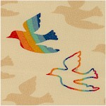 Flying Colors - Gilded Rainbow Birds by Momo