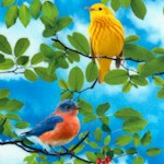 Colorful Birds on Branches (Digital)