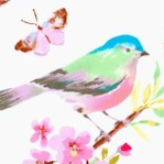 Serendipity - Delicate Watercolor Songbirds on Ivory