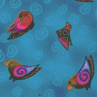 Embracing Horses - Tossed Gilded Songbirds on Blue by Laurel Burch