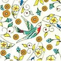 Capri - Tossed Floral and Sparrow Design by Patti Fried for Mark Lipinski