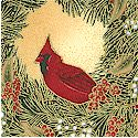 Winter Magic - Gilded Cardinals and Wreaths on Mottled Beige