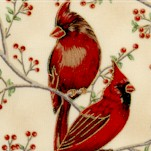 Good Tidings - Beautiful Gilded Cardinals and Berries