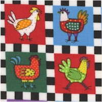 Chicken Little - Rooster and Hen Checkerboard by Jean Laury