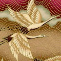 Kimono Collection - Gilded Graceful Cranes in Moss  Rust and Gold