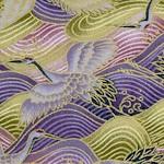 Samurai - Gilded Asian Cranes and Waves