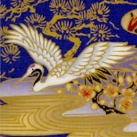 Samurai I - Exquisite Gilded Cranes and Cherry Blossoms on Purple