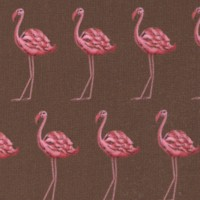 Flamingo - Rows of Flamingoes on Brown by Tina Givens
