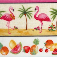 Greetings From ... Tickled Pink Flamingo, Tropical Fruit and Cocktails Vertical Stripe