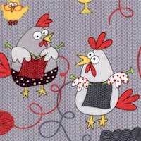 Whimsical Knitting Chicks on Grey Knit-Look Background