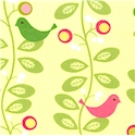 Hopscotch - Whimsical Birds in Trees on Pastel Yellow