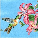 Feathered Friends - Beautiful Hummingbirds on Blue - LTD. YARDAGE AVAILABLE IN 5 PIECES