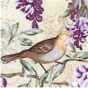 Victorian Lovebirds and Wisteria on Cream - LTD. YARDAGE AVAILABLE