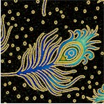 Beau Monde - Tossed Gilded Peacock Feathers on Black