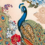Peacocks - Gilded Majestic Birds on Cream