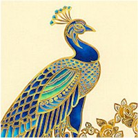 Beau Monde - Magnificent Gilded Peacock Panel - PRICED AND SOLD BY THE PANEL ONLY