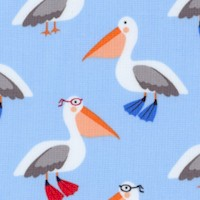 Flippers and Fins - Whimsical Pelicans on Blue