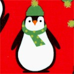 Jingle 4 - Whimsical Penguins on Red
